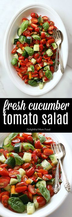 Refreshing Italian-style cucumber tomato salad seasoned with a sprinkle of lime, pink salt and fresh basil leaves. Enjoy this easy salad recipe all summer long!It is gluten-free, vegan, Whole30, Paleo and Keto friendly. | #recipe #cucumber #tomato #salad #quick #glutenfree #healthy | Recipe at delightfulmomfood.com