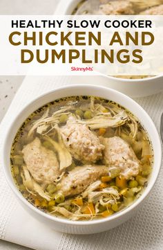 Enjoy a skinnied-up version of your favorite Southern-style dish with this healthy Slow Cooker Chicken and Dumplings recipe. Comfort food for less than 300 calories! Slow Cooker Chicken Healthy, Slow Cooker Recipes, Crockpot Recipes, Chicken Recipes, Cooking Recipes, Chicken Meals, Freezer Cooking, Slow Cooking, Popular Recipes