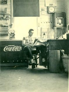 Photo taken in the 1950's in the office of Bud Wood's Taxi Service, Rockland.
