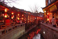 Restaurants by the water side, Lijiang, Yunnan, China
