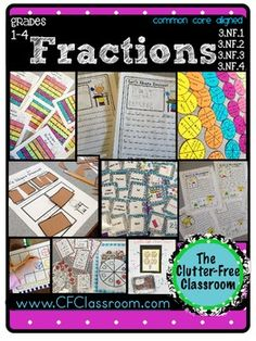 Clutter-Free Classroom: Tips for Teaching Fractions {Common Core Math 3rd Grade Fractions, Teaching Fractions, Math Fractions, 4th Grade Math, Teaching Math, Equivalent Fractions, Teaching Tips, Fraction Activities, Math Activities