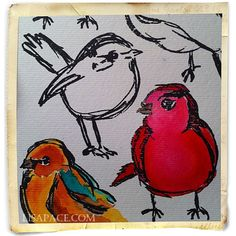 I am in LOVE with Dina Wakley's Scribbly Birds stamp set. Such awesome stamps.