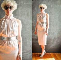 Vintage 1980s Sexy Satiny Pale Pink Tube Dress Sleeveless Sheath Gown