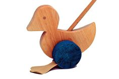 Kinderkram Wooden Duck Push Toy Natural - Honeybee Toys