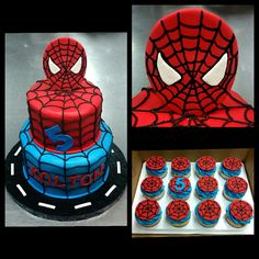 Look out here comes the Spiderman... birthday celebration! #spiderman #marvel #spidey #cake #cupcakes #cupcakestagram #cakestagram #doeswhateveraspidercan #buttercream