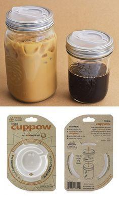 Turns Mason jars into travel mugs