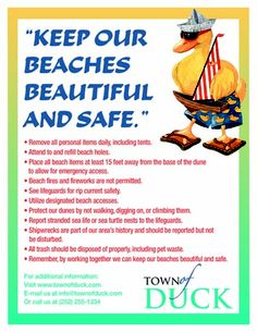 Please, while you are here, keep our beach beautiful and clean!  www.townofduck.com  #townofduck #DuckPR  @DuckPR