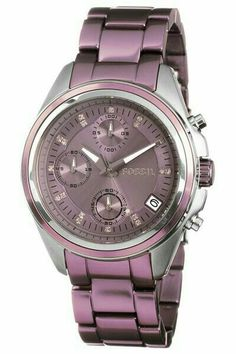 Women's Watches : Fossil Women's Stainless Steel Analog Purple Dial Watch Cute Watches, Stylish Watches, Vintage Watches, Luxury Watches, Watches For Men, Swarovski Watches, Sunglasses Women Designer, Swiss Army Watches, Luxury Sunglasses