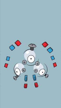 Magneton emits a powerful magnetic force that is fatal to electronics and precision instruments. Because of this, it is said that some towns warn people to keep this Pokémon inside a Poké Ball. Pokemon Go, Pokemon Pins, Pikachu, Pokemon Lock Screen, Ghostbusters Logo, Pokemon Backgrounds, Manga Anime, Cute Pokemon Wallpaper, Go Wallpaper