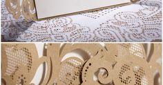 affordable laser cut lace pocket wedding invites EWWS002 | Laser Cut Wedding Invitations, Casamento and Wedding invitations