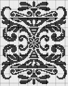 Rectangle 16 | Free chart for cross-stitch, filet crochet | gancedo.eu Graph Crochet, Filet Crochet Charts, Crochet Cross, Knitting Charts, Thread Crochet, Crochet Motif, Blackwork Patterns, Blackwork Embroidery, Lace Patterns
