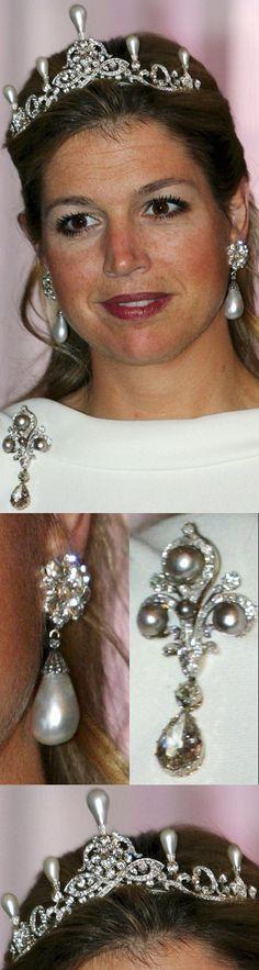 Queen Máxima of the Netherlands' diamonds & pearl parure.