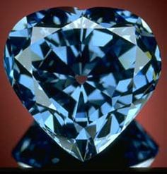 "The Blue Heart Diamond Also known as ""Eugénie Blue"" the diamond was cut in the cutting firm of Atanik Ekyanan of Neuilly, Paris in its heart shape."