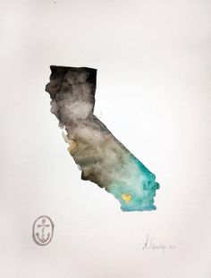 California State Print in grey/aqua ombre by AnchorsEndDesigns, $30.00