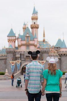 Engagement Photos at Disneyland: Mary + Jeremy Disneyland Honeymoon, Disneyland Photos, Disney Vacations, Disney Trips, Disney Stars, Disney Love, Disney Magic, Walt Disney, Disney Engagement