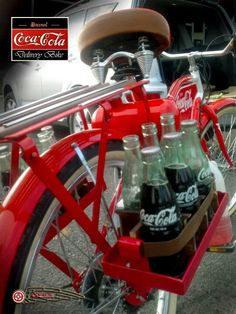 Coca-Cola to go...in a box on a red bike