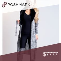 """Grey Knitted Cardigan with Detachable Faux Fur Perfect casual wear. Light knitwear with open front. Soft faux fur neck detail (detachable). Soft and stretchy with belt fastening. Approx length 45"""". 95% Polyester 5% Elastane. Sweaters Cardigans"""