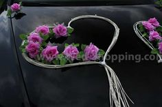 Wedding Car Decor Mauve Roses with Rattan Hearts Decoration Kit Limo Wedding Car Decorations, Heart Decorations, Wedding List, Wedding Cars, Rose Mauve, Tiny White Flowers, Amazing Flowers, Nice Flower, Wedding Accessories