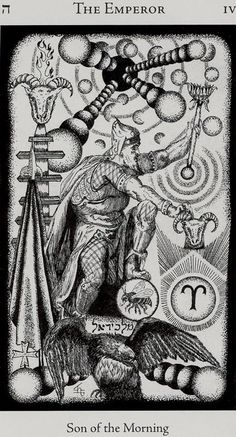 The Emperor - Hermetic Tarot Deck by Godfrey Dowson. This card symbolizes one of the stages of the Fool's Journey towards self-discovery. The Fool stands for all of us. Alchemy Symbols, Egyptian Symbols, Carl Jung, Hermetic Tarot, The Emperor Tarot, Son Of The Morning, Le Tarot, Pseudo Science, Tarot Major Arcana