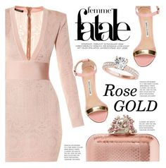 """""""The Rose Gold"""" by razone ❤ liked on Polyvore featuring Balmain, Jimmy Choo, Manolo Blahnik, rosegold and polyvoreeditorial"""