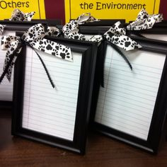 Dry erase boards made out of picture frames!  like the notebook paper & bows. Great for to do lists...