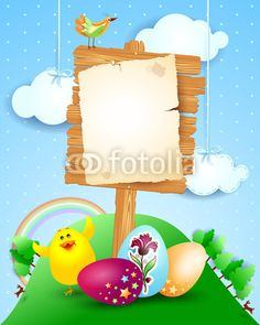 #Easter #signboard with eggs and funny chick, #vector