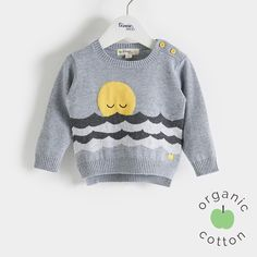 The Bonnie mob SS16 - The Life Aquatic.  CISCO Organic Cotton Grey Sweater/Jumper. Knitted sweater perfect for spring dressing, featuring a super cute snoozing sunset over stripey waves' intarsia design. The back hem is slightly longer than the front for a little bit of cover at the bottom, with button opening at shoulder on baby sizes for fuss free dressing.