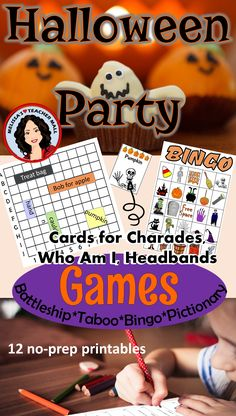 Includes: 6 Different Halloween Games,  Locate the Party Items (like Battleship), Taboo, BINGO, Cards to Play Pictionary, Charades, Who Am I or Headbands.  Center Signs for Halloween Party ~~~ Worksheets cover:  Prepositions, Combining Sentences, Subject and Predicate, Cat Idioms, Parts of Speech, Figurative Language, Which Witch, Math Word Problems, Preposition Story, Color by Number, Sudoku, How many words can you make from Frankenstein.