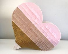 READY to ship Wedding Pinata Wedding Guest Book Pinata Blush, Baby Pink, Antique Gold and Ivory Heart Piñata Ballerina Party, Party Kit, Party Ideas, Gift Ideas, Personalized Banners, Custom Banners, Gold Party, Wedding Pinata, Party Wedding