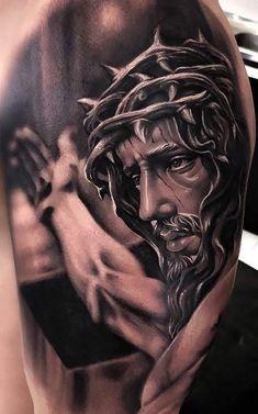 Jesus Tattoos - Tons of Jesus Tattoo Designs & Ideas - Tattoo Me Now Jesus Tattoo Sleeve, Religious Tattoo Sleeves, Best Sleeve Tattoos, Jesus Tatoo, Heaven Tattoos, God Tattoos, Body Art Tattoos, Religous Tattoo, Jesus Tattoo Design