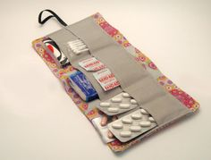 Travel First Aid Kit -Portable First Aid Wallet - Travel Wallet : Pink Grey and Purple