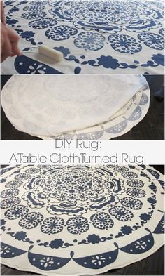 An easy way to turn a table cloth in to a rug: A DIY Anthropologie rug tutorial on Dream Book Design