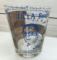 28ee698e41f4 Details about Vintage 1970s UCLA Bruins Basketball Champion John Wooden  Drink Glass Cup