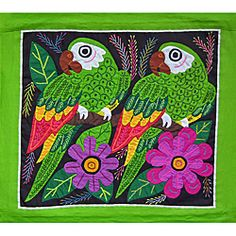 Parrots on Green Tapestry (Panama)