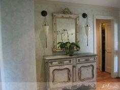 Super soft and subtle stenciled wall treatment | Large Flourish Allover Stencil | Segreto Finishes