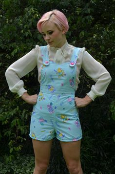 <3 don't judge!  Amazing pastel 80s care bear  jumpsuit  romper  small  by lovehoof, $110.00