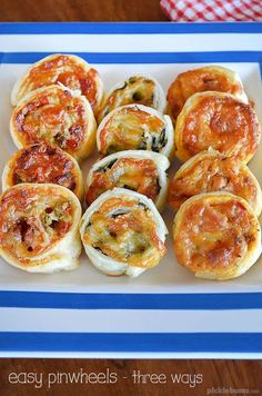 Easy Pinwheels with three fillings - pizza, mexican, and cheese and spinach