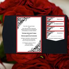 """DIY Pocketfold Wedding Invitations """"Brooklyn"""" Red & Black Printable Templates Instant Download Order Any 1 or 2 Colors YOU Print on Etsy, $40.00"""