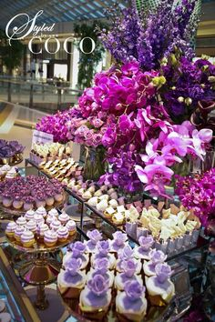 Champagne Soirée created for Anton Jewellery. Gorgeous bright blooms in fushia and purple hues. Champagne Wedding Decorations, Purple Wedding Centerpieces, Purple Wedding Cakes, Wedding Desserts, Purple Dessert Tables, Purple Day, Purple Hues, Vanda Orchids, Orchid Color
