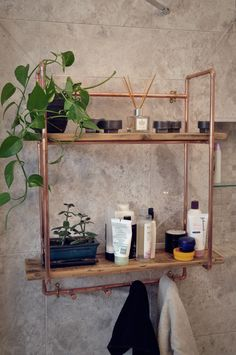 DIY Copper Pipe - Coat Hook Shelving Unit Your Guide to Bathroom Planning and Design This bathroom p Copper Furniture, Pipe Furniture, Industrial Furniture, Industrial Style, Industrial House, Industrial Pipe, Furniture Dolly, Industrial Lighting, Industrial Design