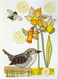 Wren Spring stitched mixed media original by AmandaWoodDesigns