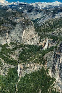 Vernal and Nevada Falls, seen from Washburn Point (near Glacier Point). Yosemite California