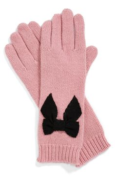Pretty pink gloves + bow.