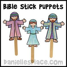 Bible Stick Puppets Bible Craft from www.daniellesplace.com for Children's Sunday School