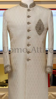 Sherwani for Men Customized by Uomo Attire Sherwani For Men Wedding, Wedding Dresses Men Indian, Wedding Outfits For Groom, Sherwani Groom, Wedding Dress Men, Pakistani Bridal Dresses, Designer Suits For Men, Designer Clothes For Men, Indian Groom Dress
