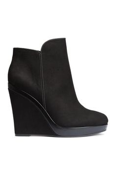 Wedge-heel boots: Boots in imitation suede with imitation leather details, a zip in the side, covered wedge heels and rubber soles. Wedge Heel Boots, Heeled Boots, Bootie Boots, Shoe Boots, H&m Shoes, Cute Shoes, Fashion Boots, Punk Fashion, Lolita Fashion