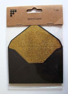 Francheville Black Kraft Envelopes with Gold Glitter Liner Pack of 4