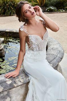 solo merav 2017 bridal sleeveless illusion jewel sweetheart neckline heavily embellished bodice elegant sheath wedding dress chapel train (marianna) zv -- Solo Merav 2017 Wedding Dresses