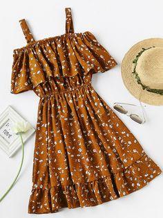 Calico Print Frill Blouson A Line Dress