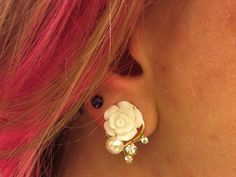 00g 0g 2g 4g Ivory and Gold Rose Plugs Wedding Plugs by JewelryFX, $16.50